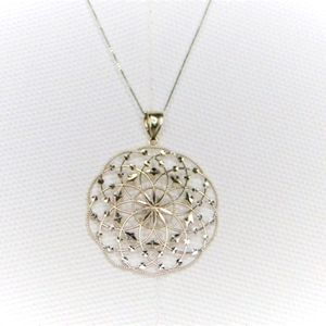 Solid 14kt White Gold Circles Pendant and Chain